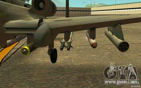 A-10 Warthog para GTA San Andreas vista hacia atrás