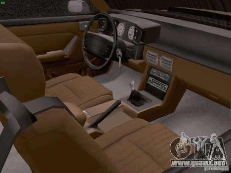 Ford Mustang GT 5.0 Convertible 1987 para visión interna GTA San Andreas