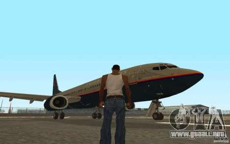 Boeing 737-800 para la vista superior GTA San Andreas