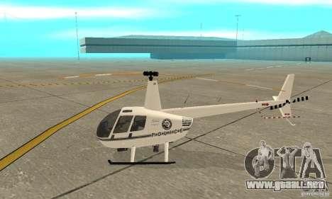 Robinson R44 Raven II NC 1.0 blanco para GTA San Andreas vista posterior izquierda