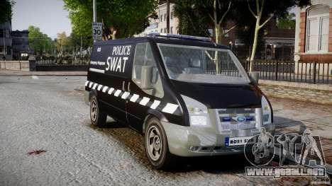 Ford Transit SWAT [ELS] para GTA 4 visión correcta