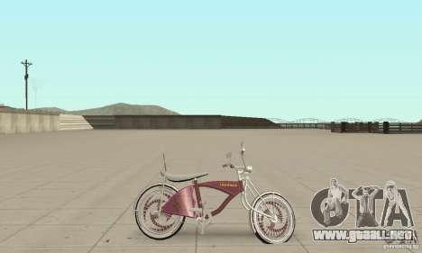 Lowrider Bicycle Custom Version para GTA San Andreas vista posterior izquierda
