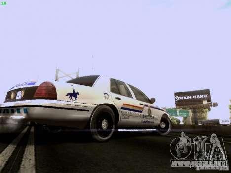 Ford Crown Victoria Canadian Mounted Police para la visión correcta GTA San Andreas