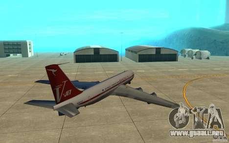 Qantas 707B para GTA San Andreas vista hacia atrás