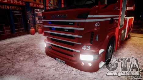 Scania Fire Ladder v1.1 Emerglights blue-red ELS para GTA 4 vista desde abajo