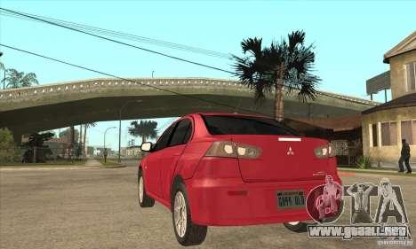 Mitsubishi Lancer para GTA San Andreas vista posterior izquierda