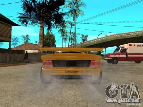 Noble M12 GTO Beta para GTA San Andreas vista posterior izquierda