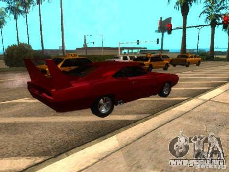 Dodge Charger Daytona Fast & Furious 6 para GTA San Andreas vista posterior izquierda