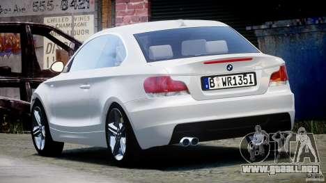 BMW 135i Coupe 2009 [Final] para GTA 4 Vista posterior izquierda