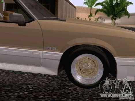 Ford Mustang GT 5.0 Convertible 1987 para GTA San Andreas vista hacia atrás
