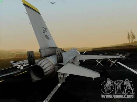 F-16C Warwolf para GTA San Andreas vista posterior izquierda
