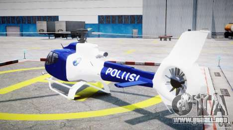 Eurocopter EC 130 Finnish Police para GTA 4 Vista posterior izquierda