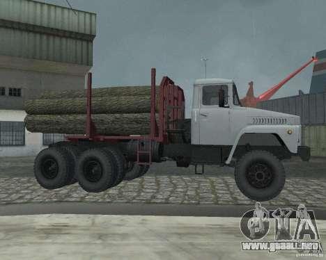 Portador de madera KrAZ-255 para GTA San Andreas vista hacia atrás