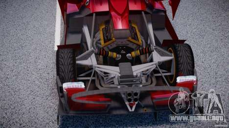 Pagani Zonda R para GTA 4 vista hacia atrás