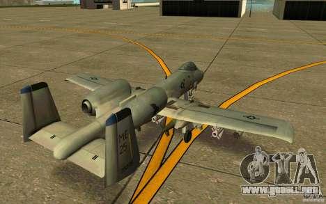 A-10 Warthog para la visión correcta GTA San Andreas