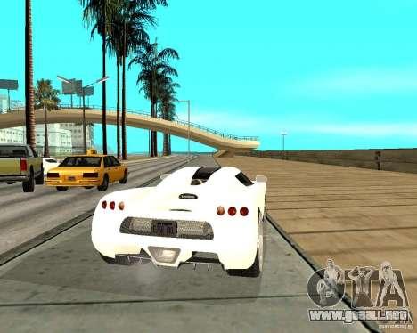 Koenigsegg CCRT para GTA San Andreas vista posterior izquierda