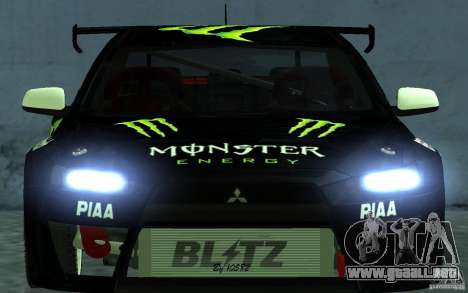 Mitsubishi Lancer Evolution X Monster Energy para la visión correcta GTA San Andreas