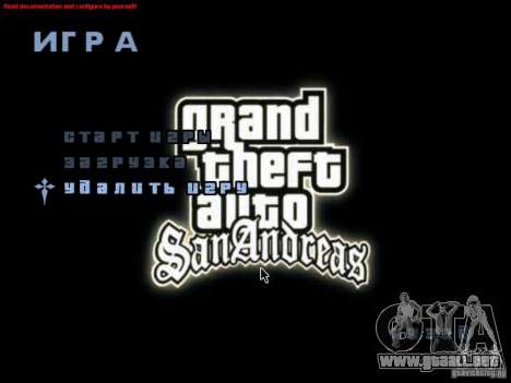 Una pantalla de video en el menú principal para GTA San Andreas