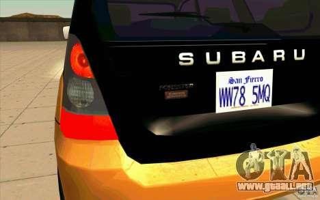 Subaru Forester Cross Sport 2005 para visión interna GTA San Andreas
