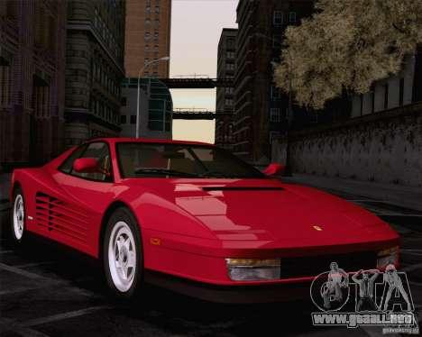 Ferrari Testarossa 1986 para GTA San Andreas vista posterior izquierda