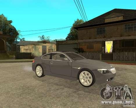 BMW 645Ci 04 para la visión correcta GTA San Andreas