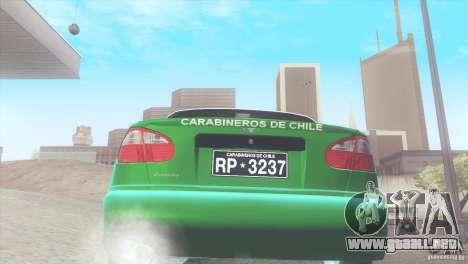 Daewoo Lanos De Carabineros De Chile para la visión correcta GTA San Andreas