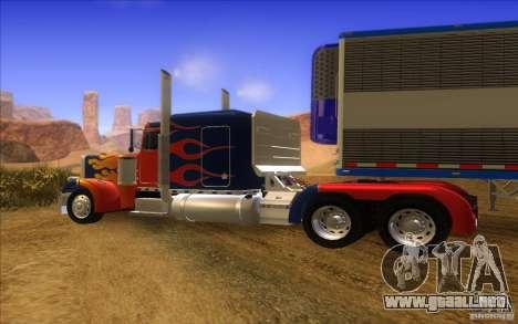 Truck Optimus Prime v2.0 para GTA San Andreas vista hacia atrás