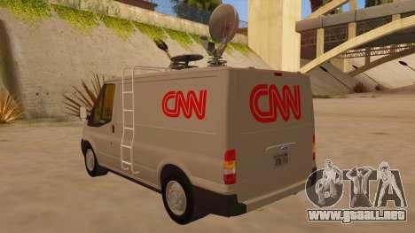 Ford Transit CNN para GTA San Andreas vista posterior izquierda