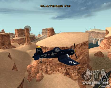 Aereo Corsair F4U1D para visión interna GTA San Andreas