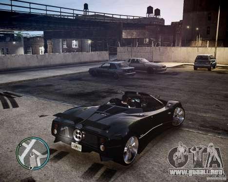 Pagani Zonda C12S Roadster para GTA 4 vista hacia atrás