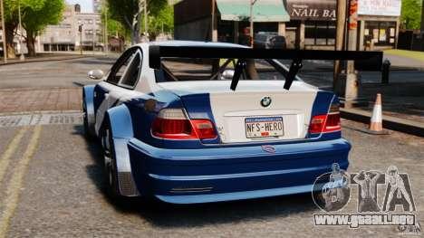 BMW M3 GTR MW 2012 para GTA 4 Vista posterior izquierda