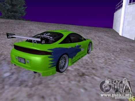 Mitsubishi Eclipse 1998 - FnF para GTA San Andreas vista posterior izquierda