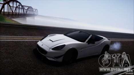Ferrari California para GTA San Andreas vista posterior izquierda