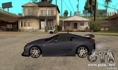 Lexus LFA 2010 v2 para GTA San Andreas left