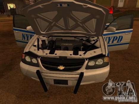 Chevrolet Impala Police 2003 para GTA San Andreas vista posterior izquierda