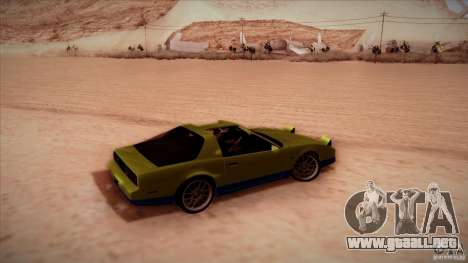 Pontiac Firebird Trans Am para GTA San Andreas vista posterior izquierda