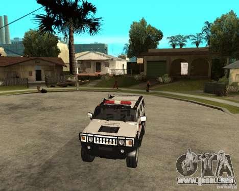 AMG H2 HUMMER - RED CROSS (ambulance) para GTA San Andreas vista hacia atrás