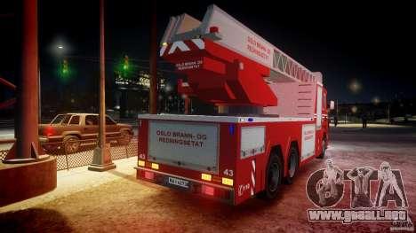 Scania Fire Ladder v1.1 Emerglights blue-red ELS para GTA 4 ruedas