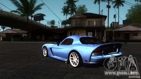 Dodge Viper SRT10 Stock para GTA San Andreas vista posterior izquierda
