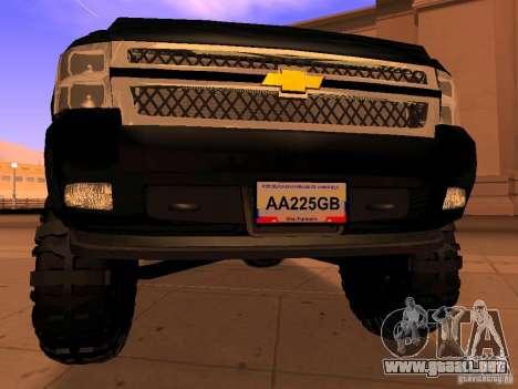 Chevrolet Silverado HD 3500 2012 para GTA San Andreas vista hacia atrás