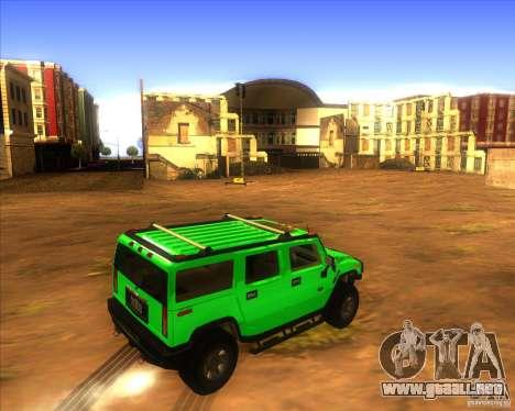 Hummer H2 updated para GTA San Andreas vista posterior izquierda