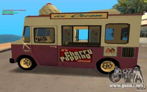 Chevrolet Forvard Control 20 Ice Cream para GTA San Andreas vista posterior izquierda