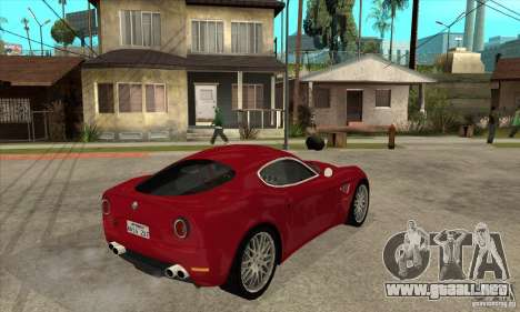 Alfa Romeo 8 c Competizione stock para GTA San Andreas vista hacia atrás