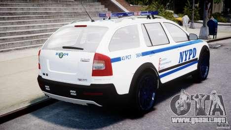 Skoda Octavia Scout NYPD [ELS] para GTA 4 Vista posterior izquierda