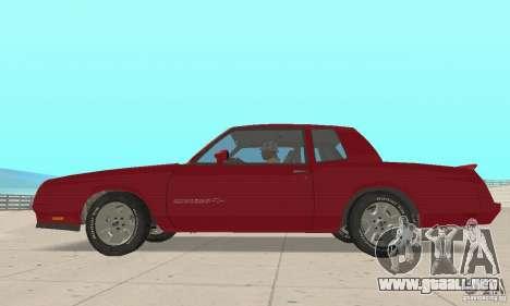 Chevrolet Monte Carlo SS 1986 para GTA San Andreas vista posterior izquierda