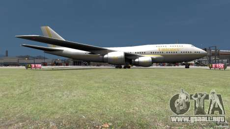 Real Emirates Airplane Skins Gold para GTA 4 Vista posterior izquierda