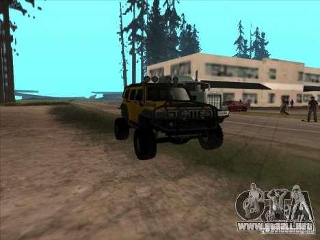 Hummer H3 Trial para GTA San Andreas vista hacia atrás