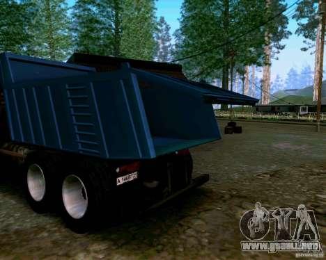 Camión KAMAZ 6520 para visión interna GTA San Andreas