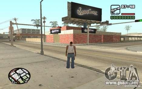 Una tienda de pintura West Coast Customs para GTA San Andreas