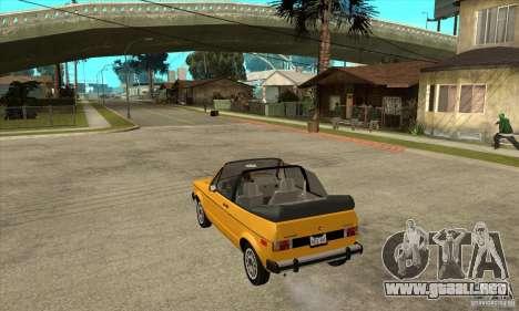 Volkswagen Rabbit Convertible para GTA San Andreas vista posterior izquierda
